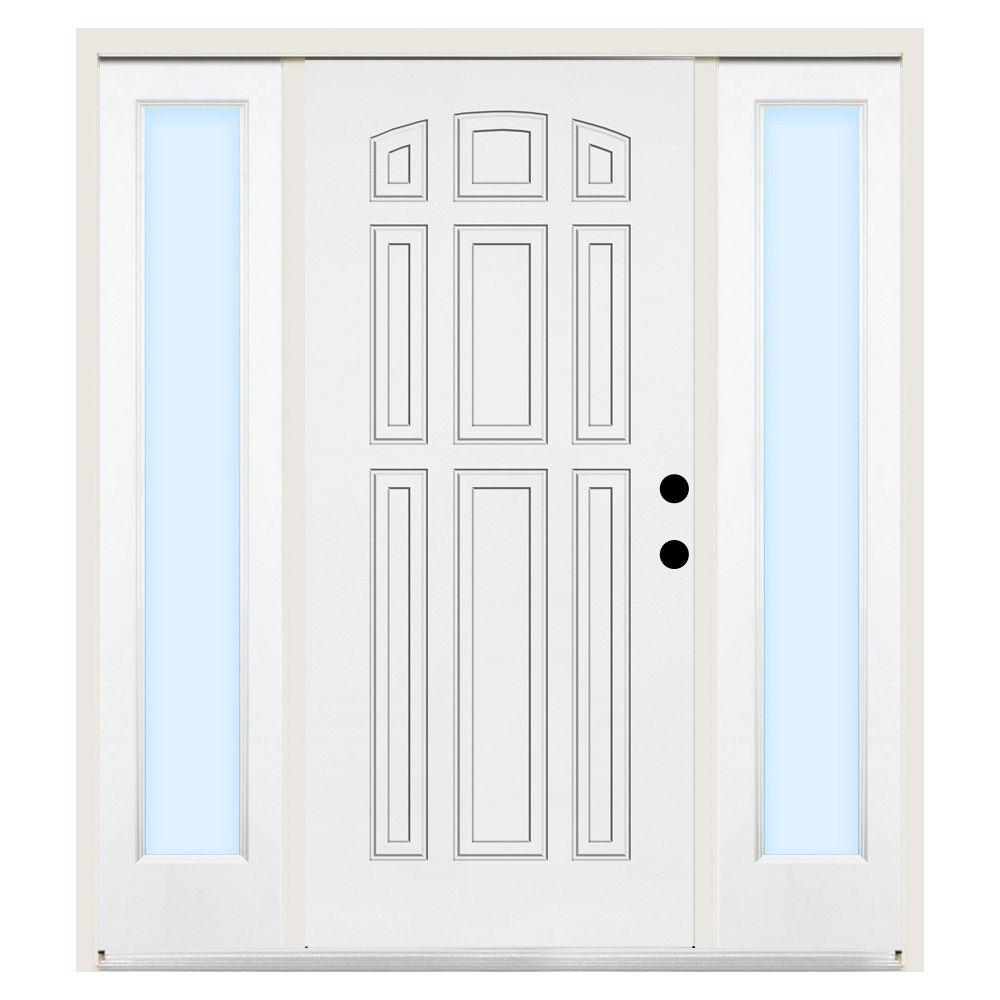 Steves & Sons 68 in. x 80 in. Premium 9-Panel Left-Hand Primed Steel Prehung Front Door w/ 14 in. Clear Glass Sidelite and 6 in. Wall