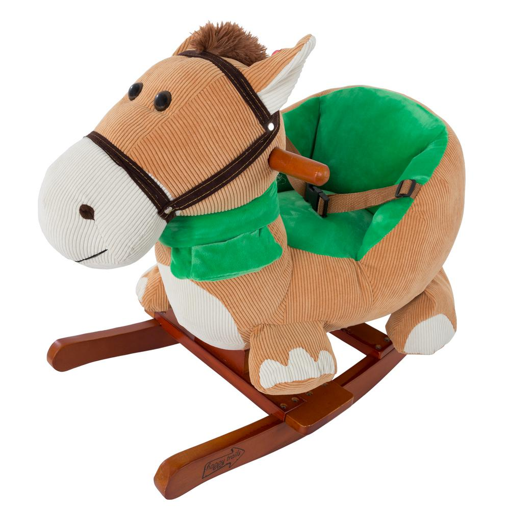 Happy trails plush browns rocking horse with seat m
