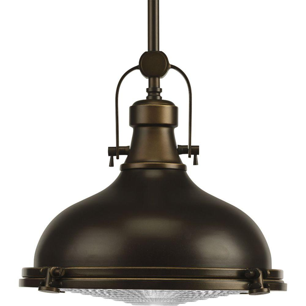 Progress Lighting Fresnel Collection 1-Light Oil-Rubbed Bronze Pendant