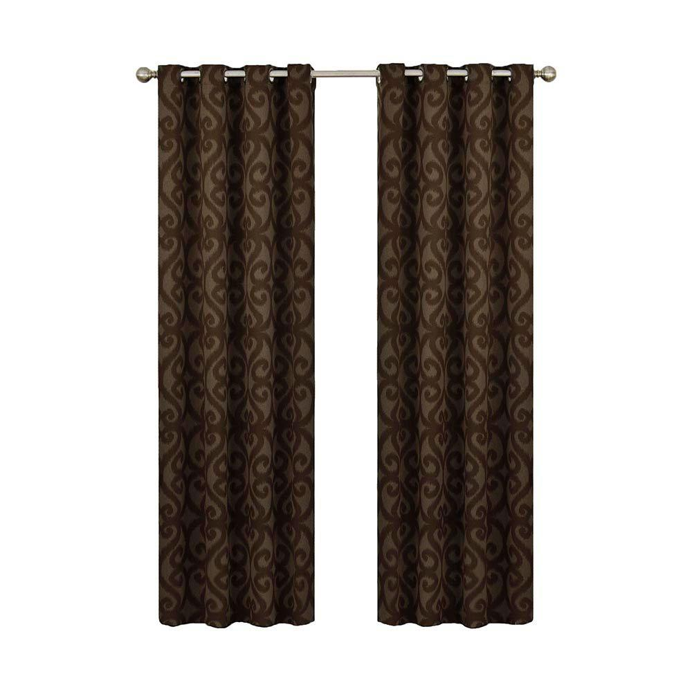Eclipse Patricia Blackout Chocolate (Brown) Grommet Curtain Panel, 63 in. Length (Price Varies by Size)