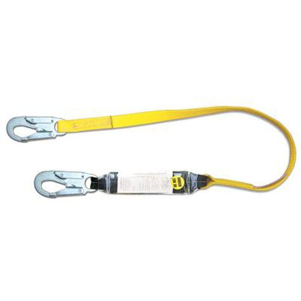 Qualcraft 6 ft. Single Leg Shock Absorbing Lanyard with Rebar Hook end