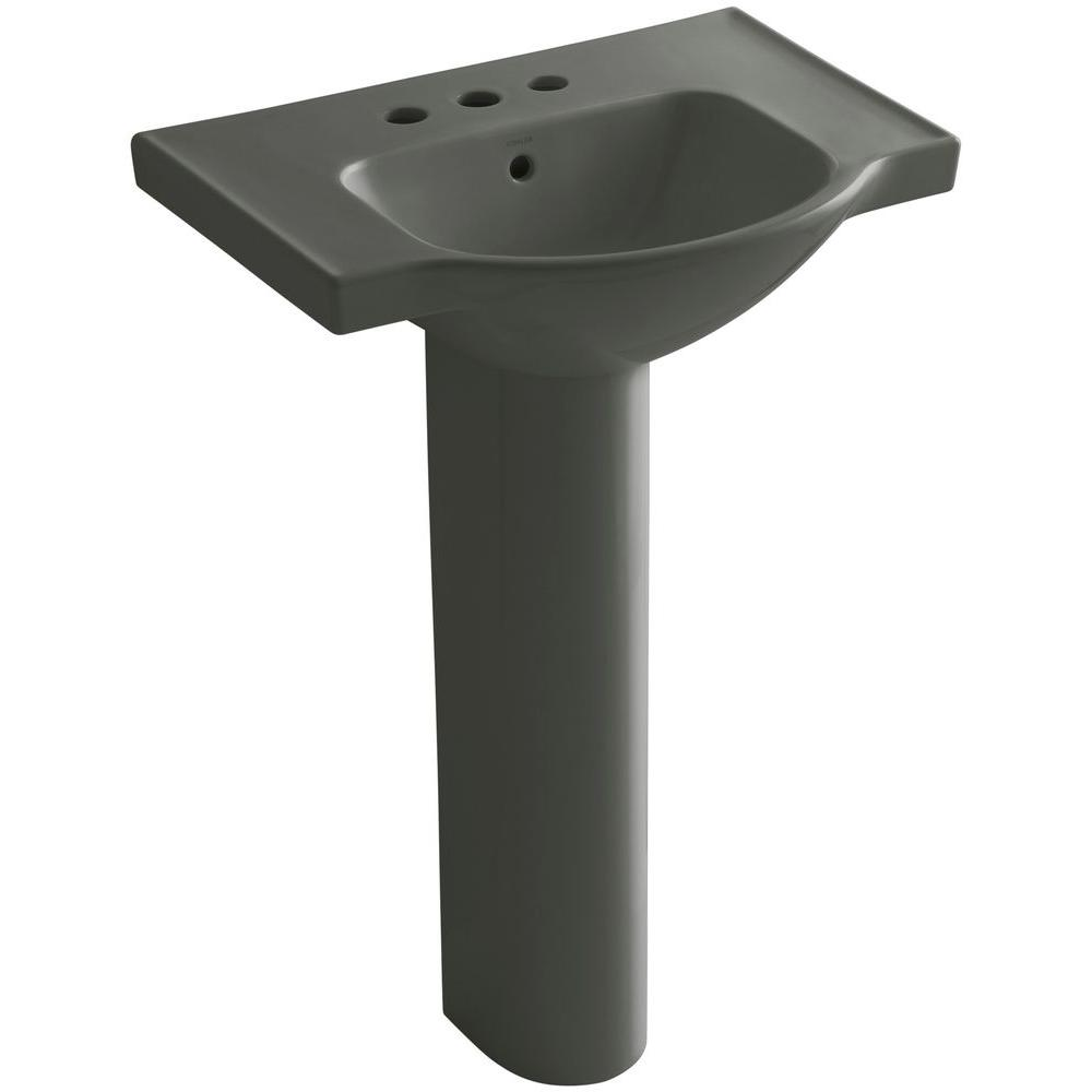 KOHLER Veer 24 in. Vitreous China Pedestal Combo Bathroom Sink in Thunder Grey with Overflow Drain