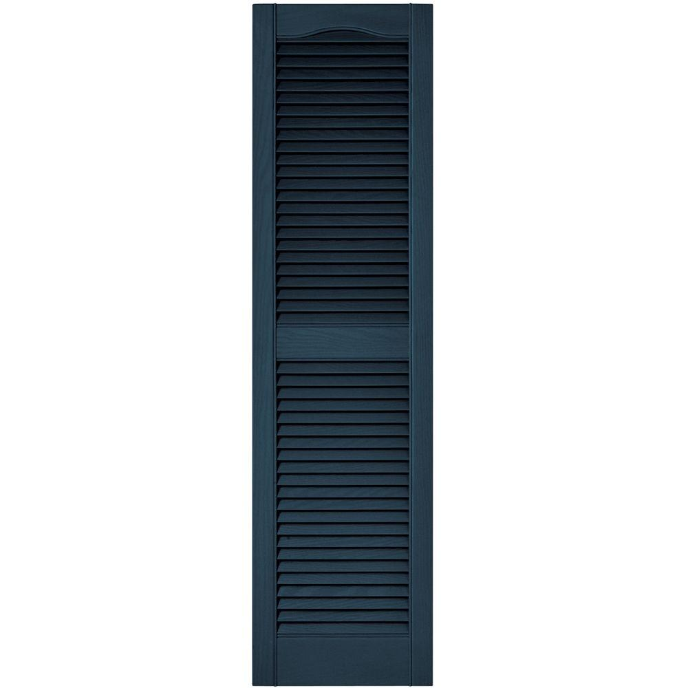 15 In X 55 In Louvered Vinyl Exterior Shutters Pair In