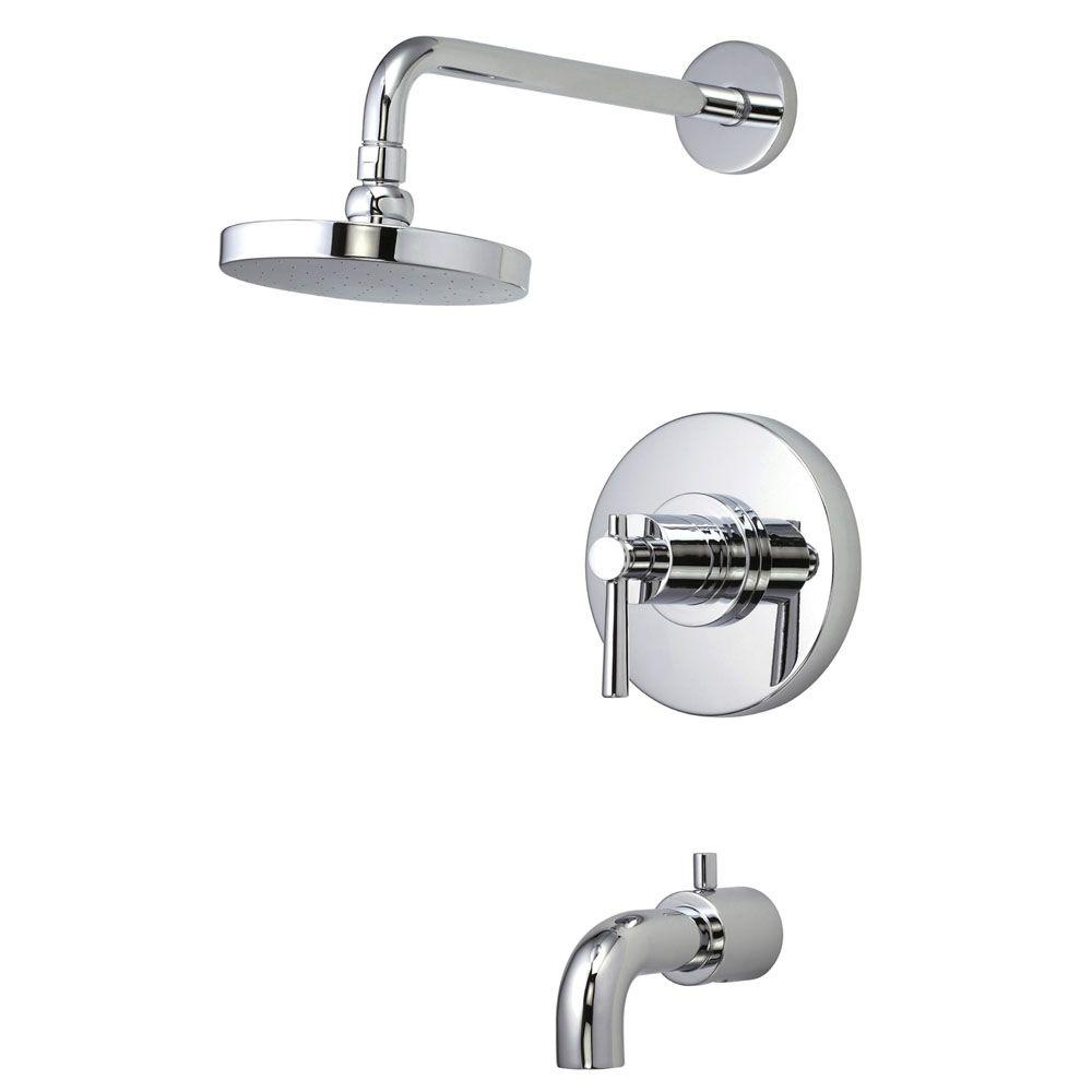 Belle Foret Modern 1-Handle Pressure Balance Tub and Shower Faucet in Chrome with Lever Handle