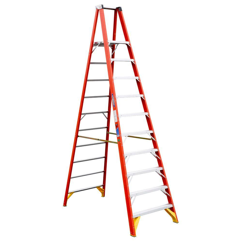 Werner 10 ft. Fiberglass Platform Step Ladder 300 lb. Load Capacity
