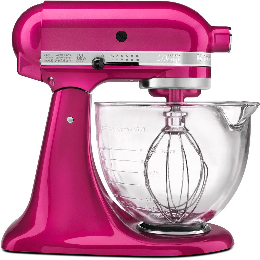 KitchenAid Artisan Designer Series 5 Qt. Stand Mixer in Raspberry Ice-KSM155GBRI