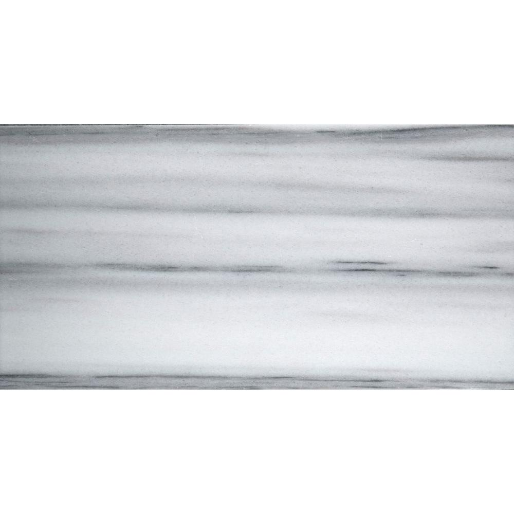 Metro White 3 in. x 6 in. Marble Floor and Wall