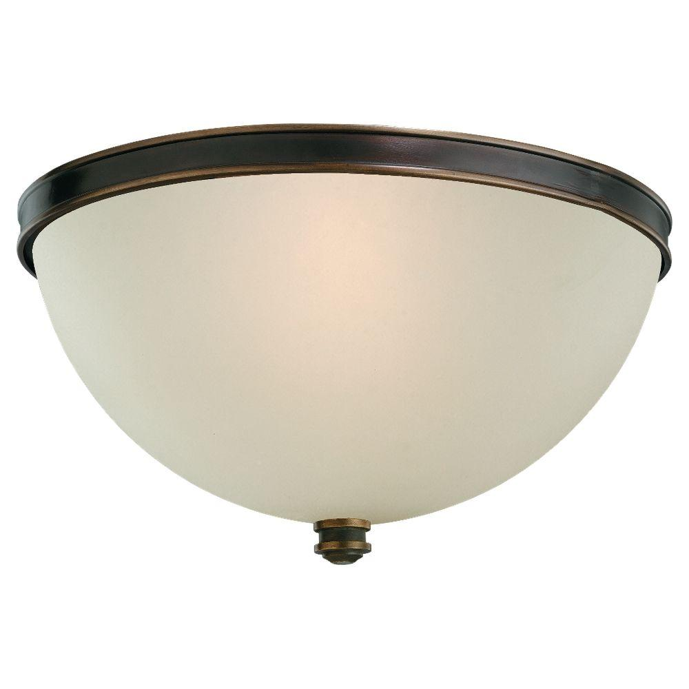 Sea Gull Lighting Warwick 2-Light Autumn Bronze Ceiling Flushmount with Smoky