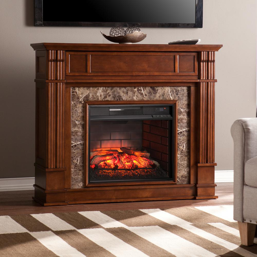Electric Fireplace Heaters Home Depot: Southern Enterprises Rochester 48 In. W Faux Stone