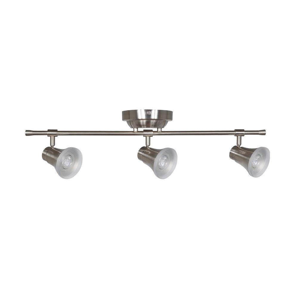 Solo 2 ft. 3-Light Satin Nickel LED Fixed Track with 400