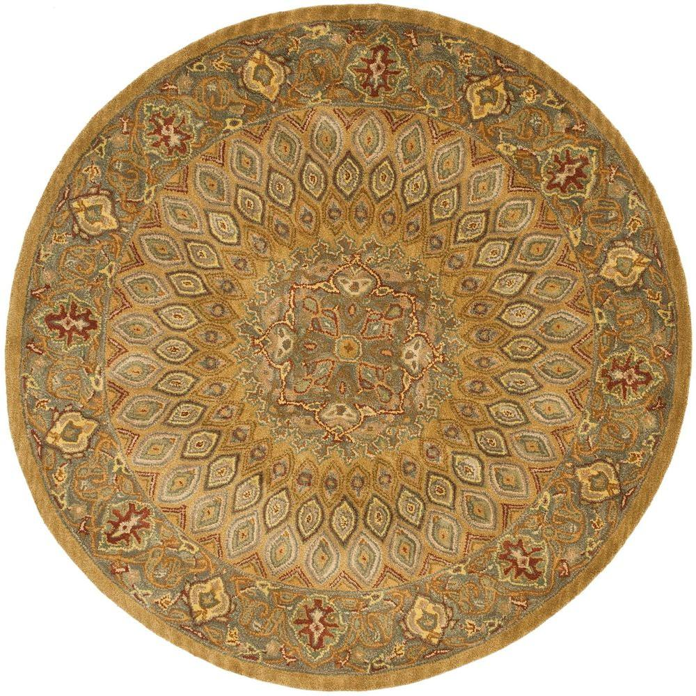 Heritage Light Brown/Grey 8 ft. x 8 ft. Round Area Rug