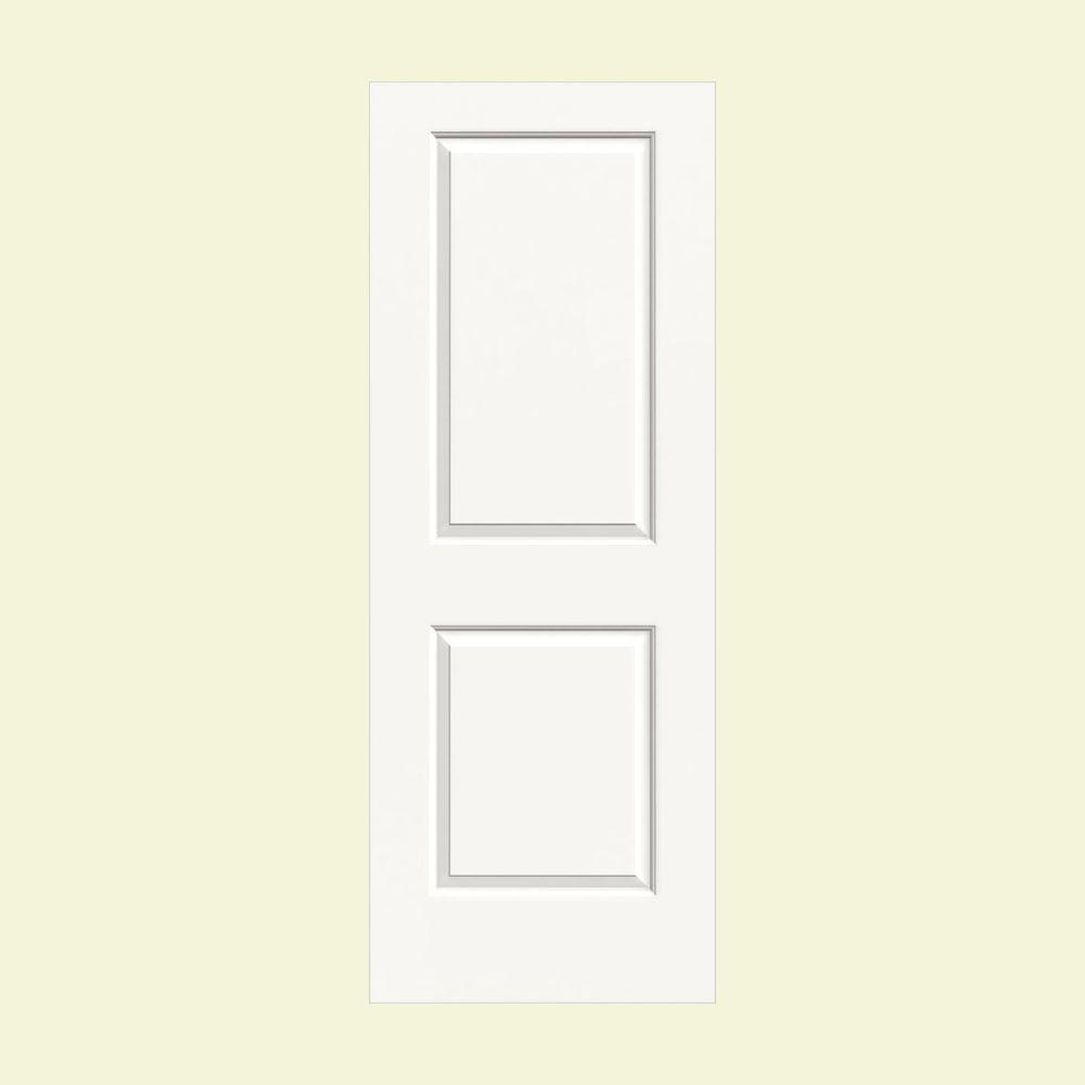 36 in. x 80 in. Molded Smooth 2-Panel Square Brilliant White