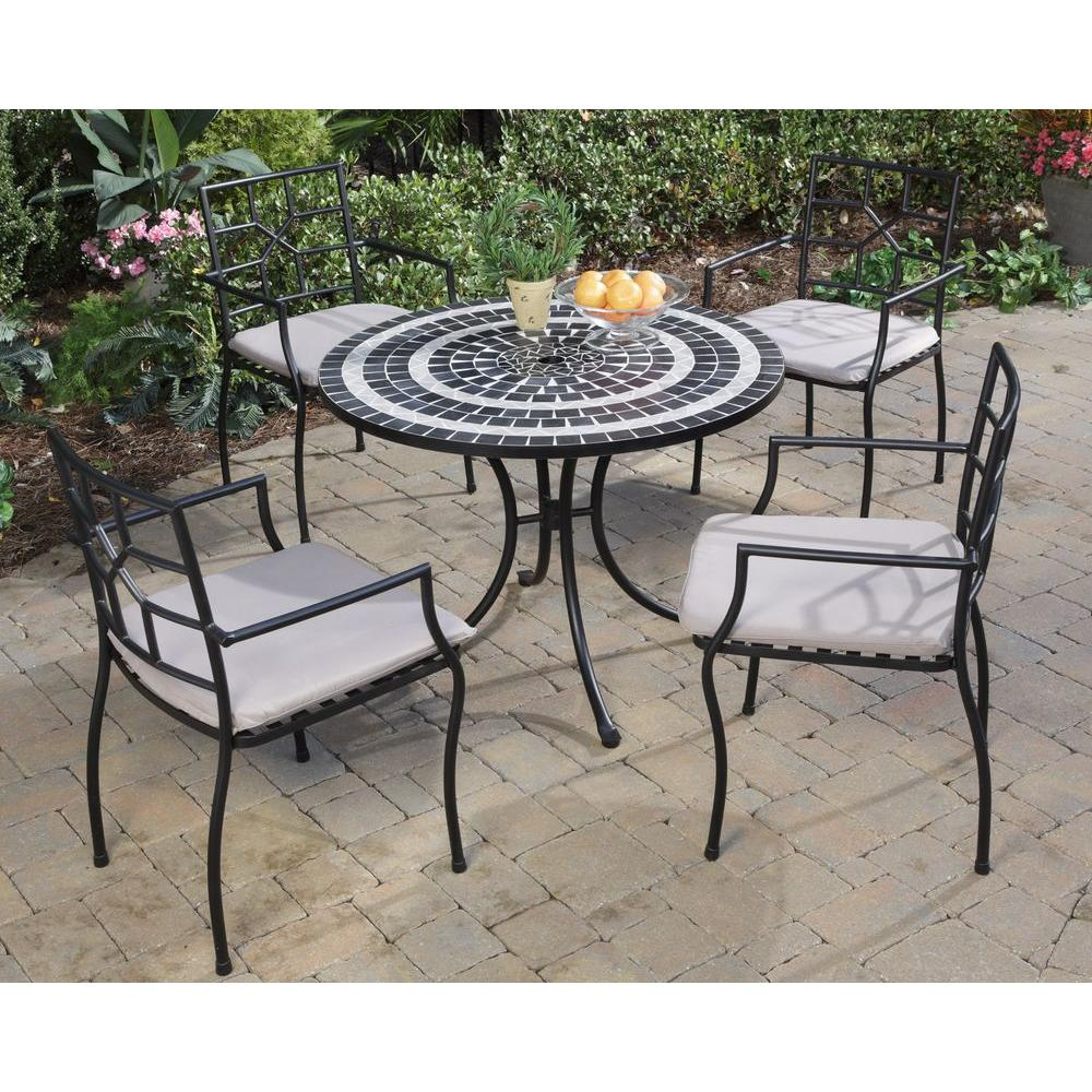 Home Styles Delmar Black and Gray 5-Piece Patio Dining Set with Cambria Chairs-DISCONTINUED