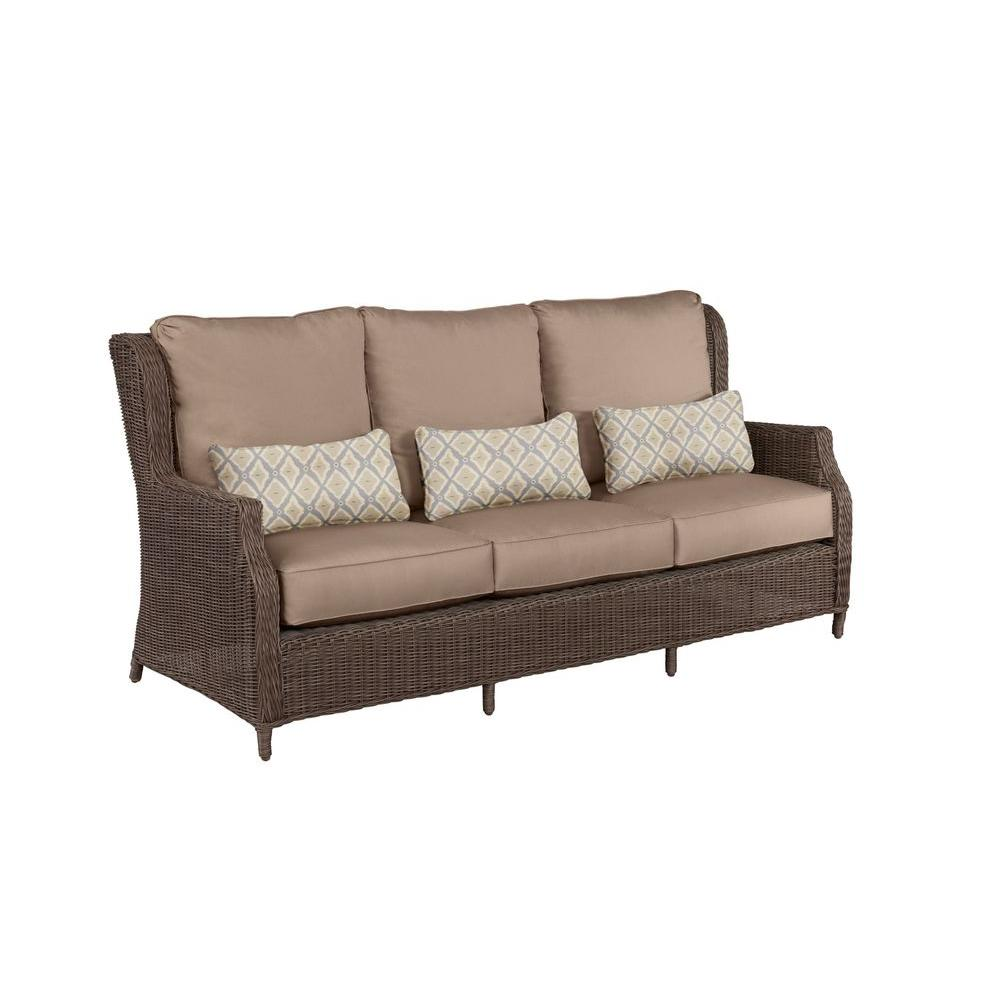 Brown Jordan Vineyard Patio Sofa with Sparrow Cushions and Bazaar Lumbar