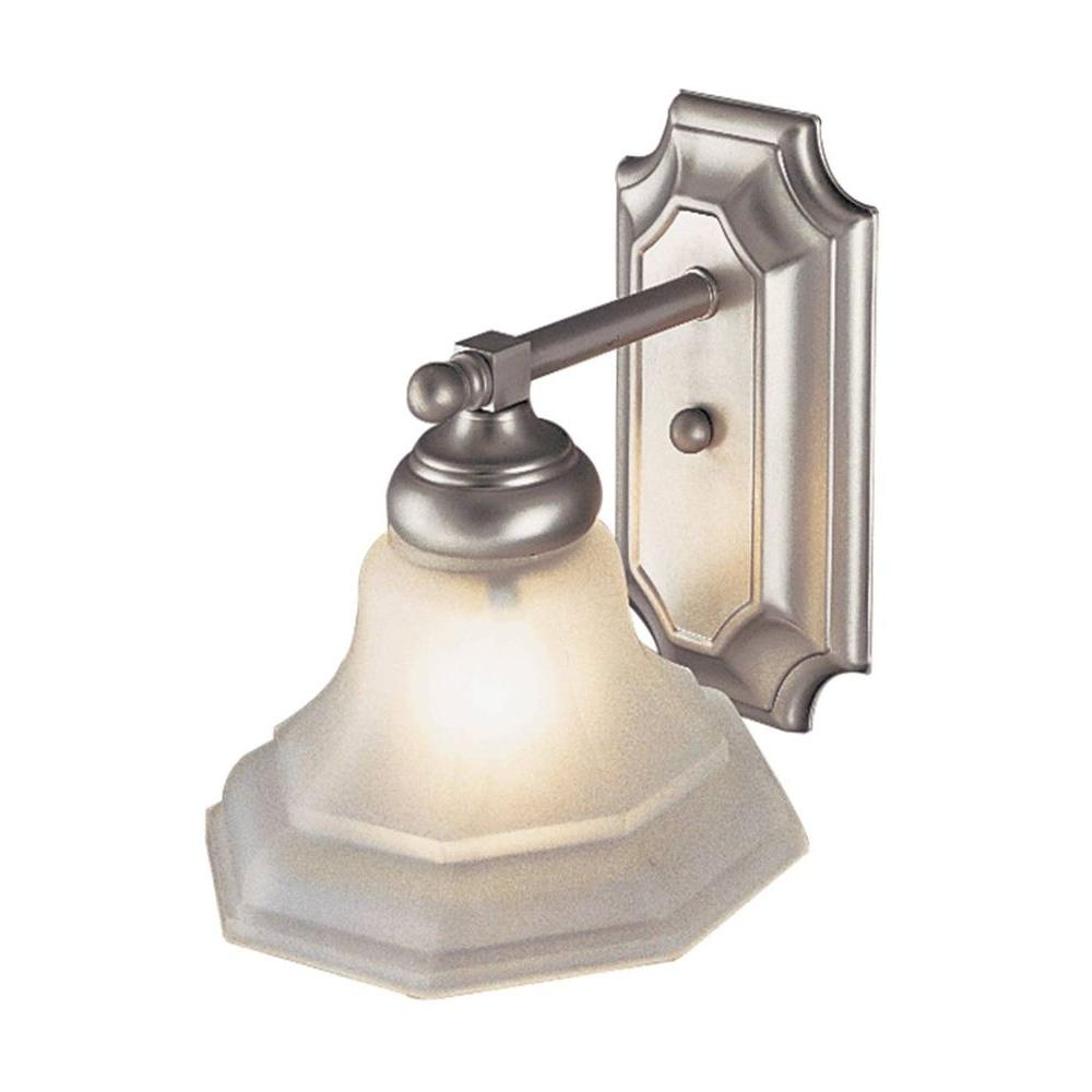 1-Light Brushed Nickel Indoor Sconce with Octagonal Frost Glass