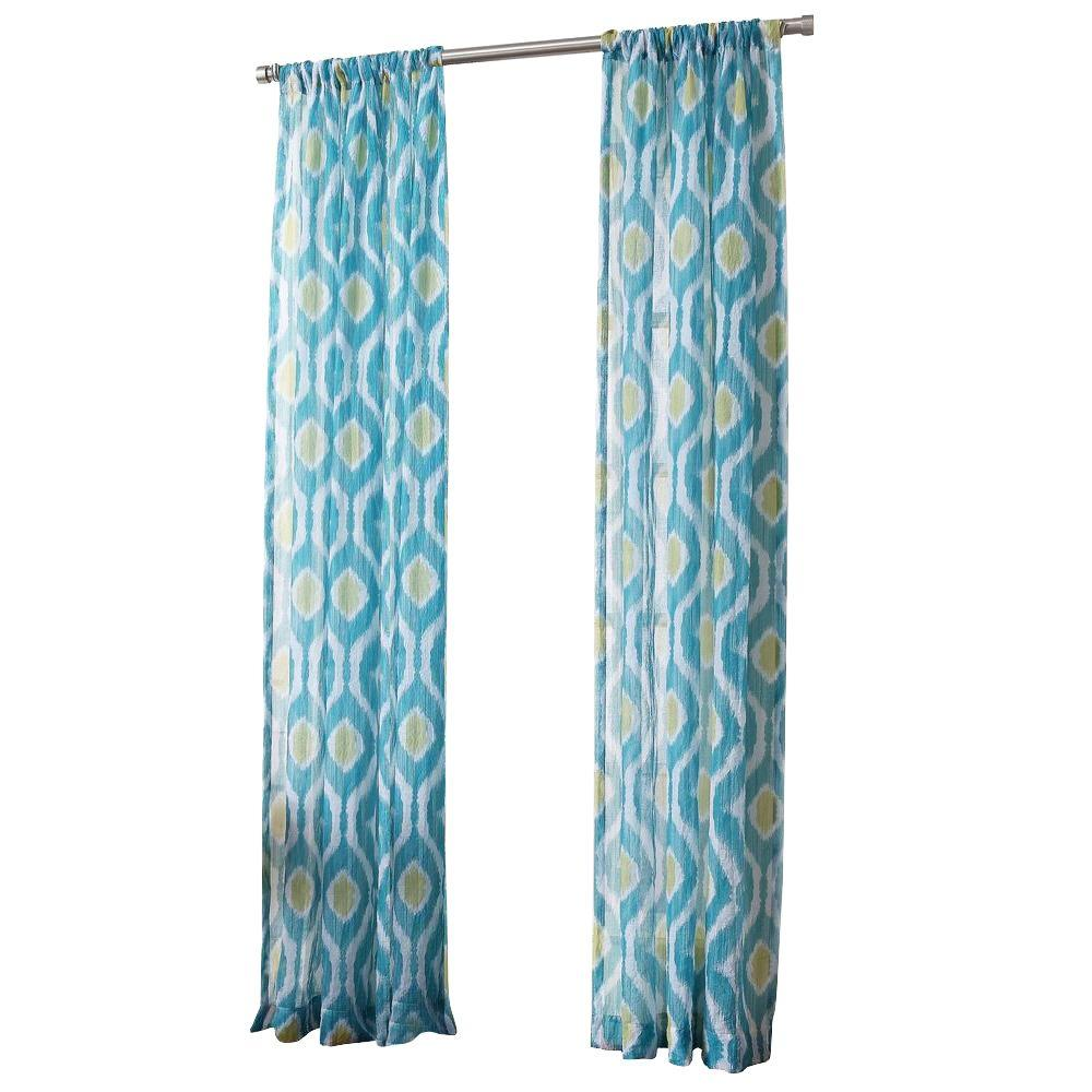 Marine No. 918 Millennial Marvin Ikat Crushed Sheer Curtain Panel, 50