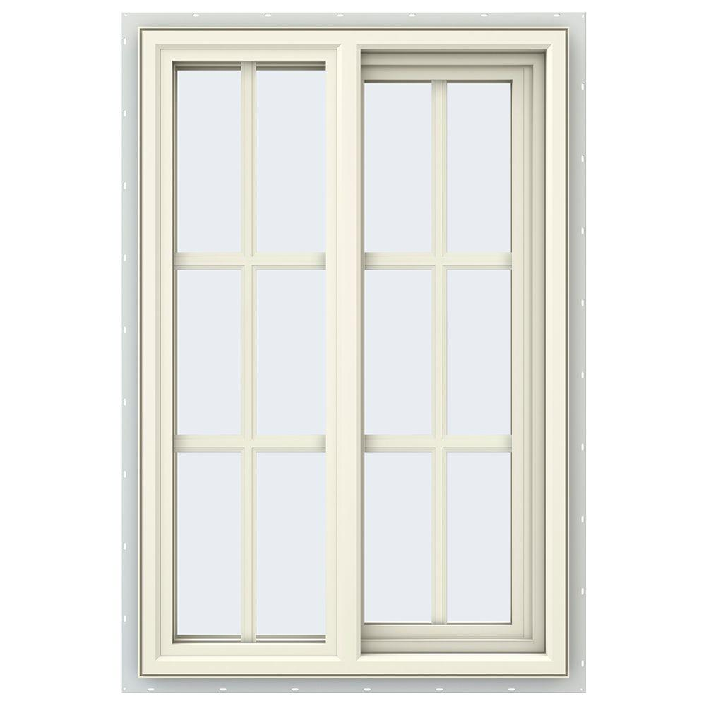 JELD-WEN 23.5 in. x 35.5 in. V-4500 Series Right-Hand Sliding Vinyl Window with Grids - Yellow