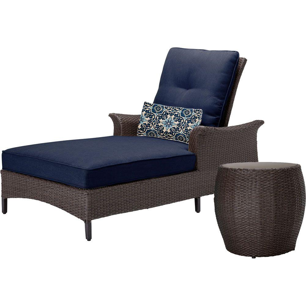 Gramercy 2-Piece All-Weather Wicker Patio Chaise Seating Set with Navy Blue