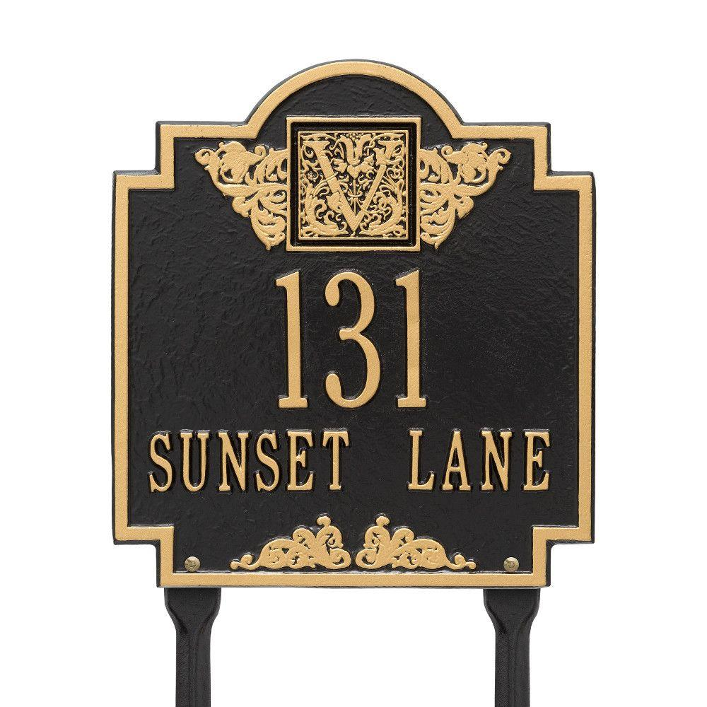 Whitehall Products Monogram Standard Lawn Square Black/Gold 2-Line Address Plaque