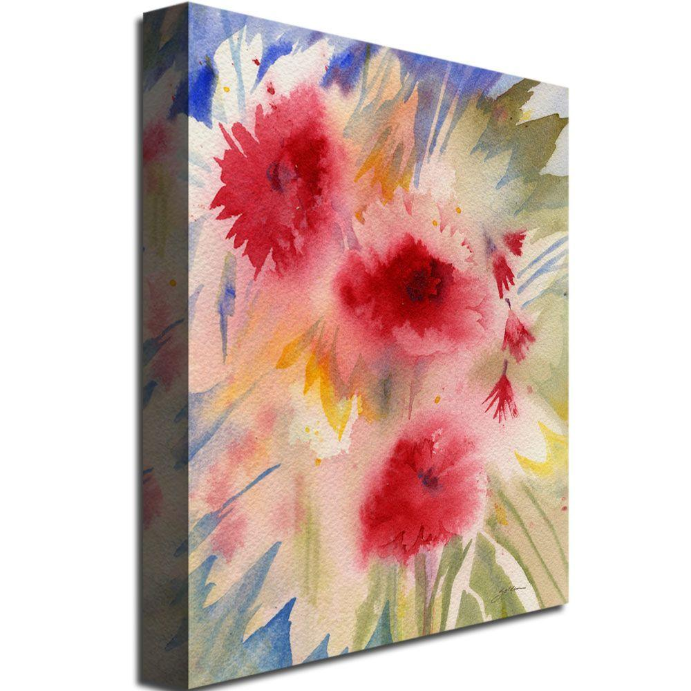 Trademark Fine Art 24 in. x 32 in. Sunny Red Flowers