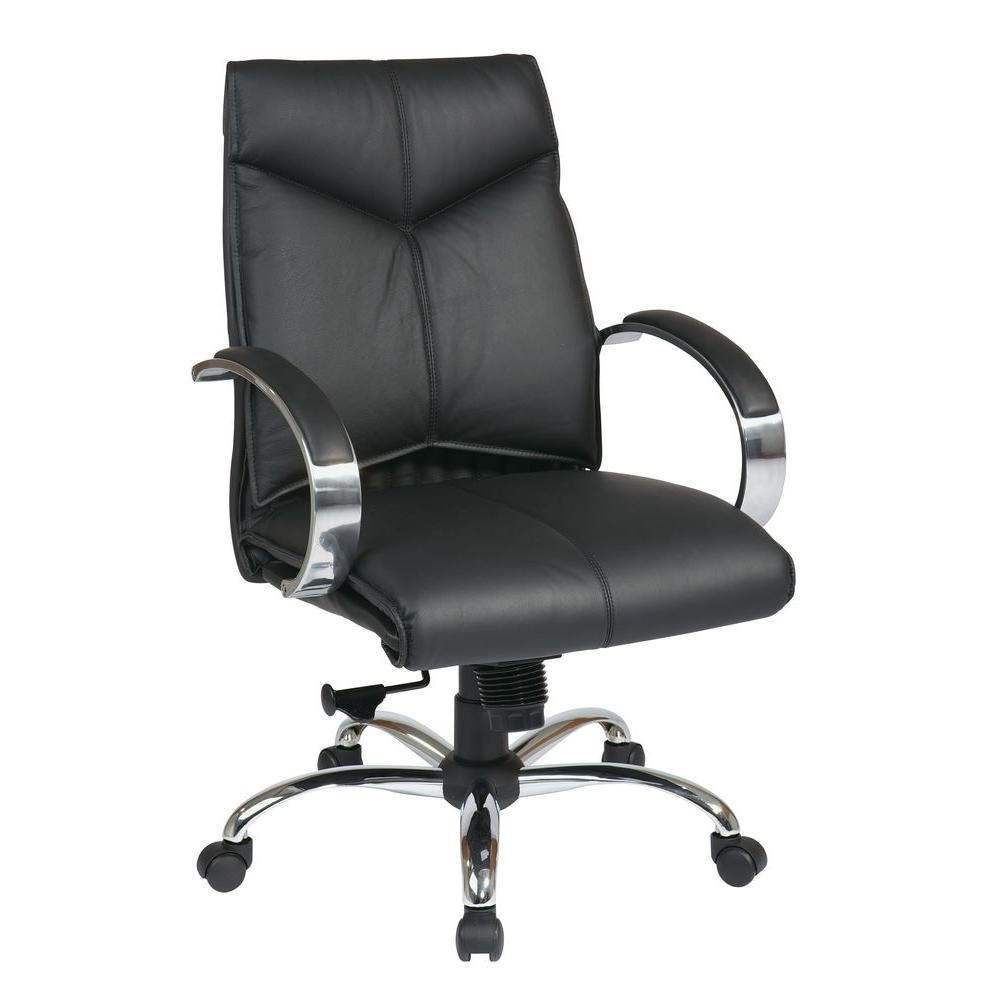Black Leather Mid Back Executive Office Chair