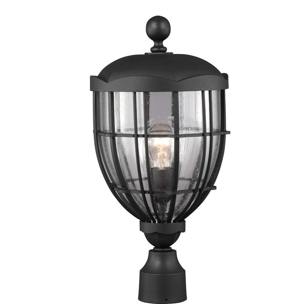 River North Collection 1-Light Textured Black Outdoor Post Light