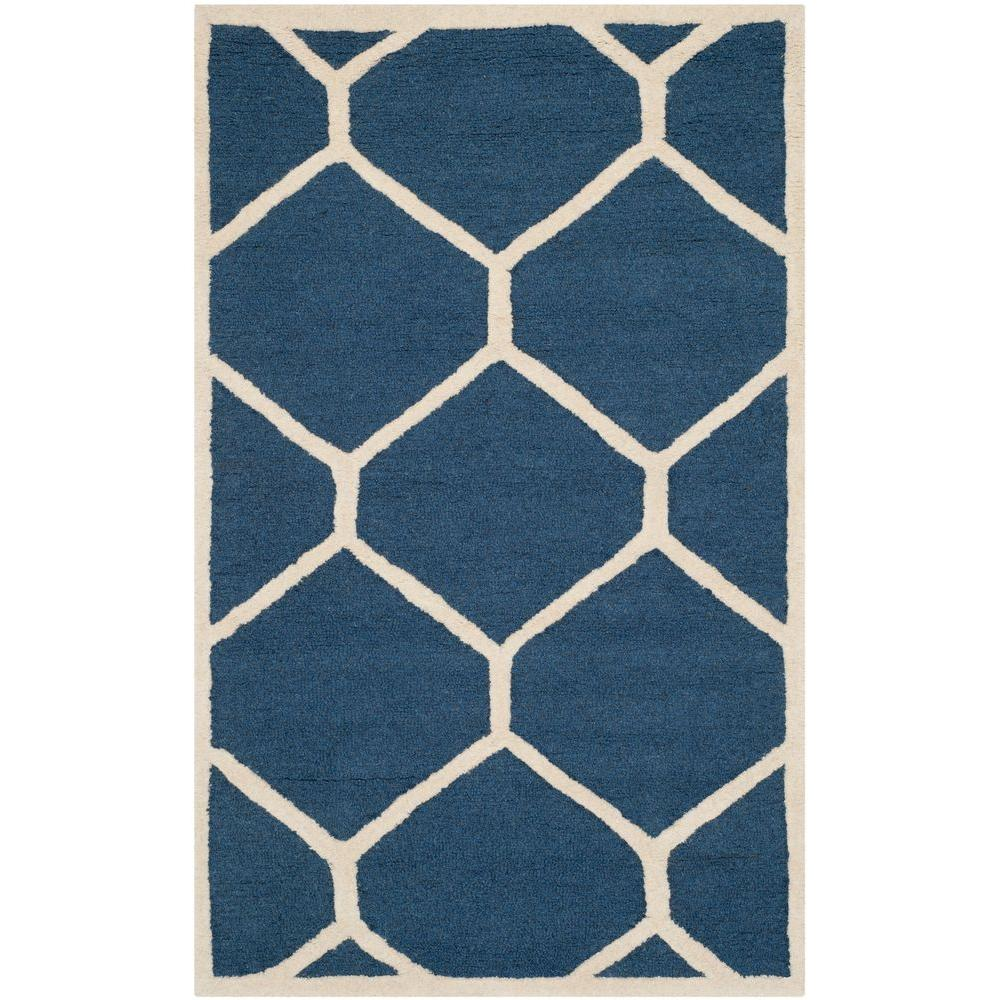 Safavieh Cambridge Navy Blue/Ivory 3 ft. x 5 ft. Area Rug-CAM144G-3