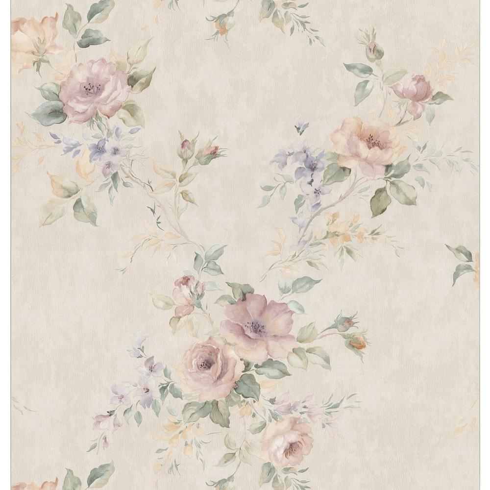 Brewster 56 sq. ft. Watercolor Floral Bouquet Wallpaper
