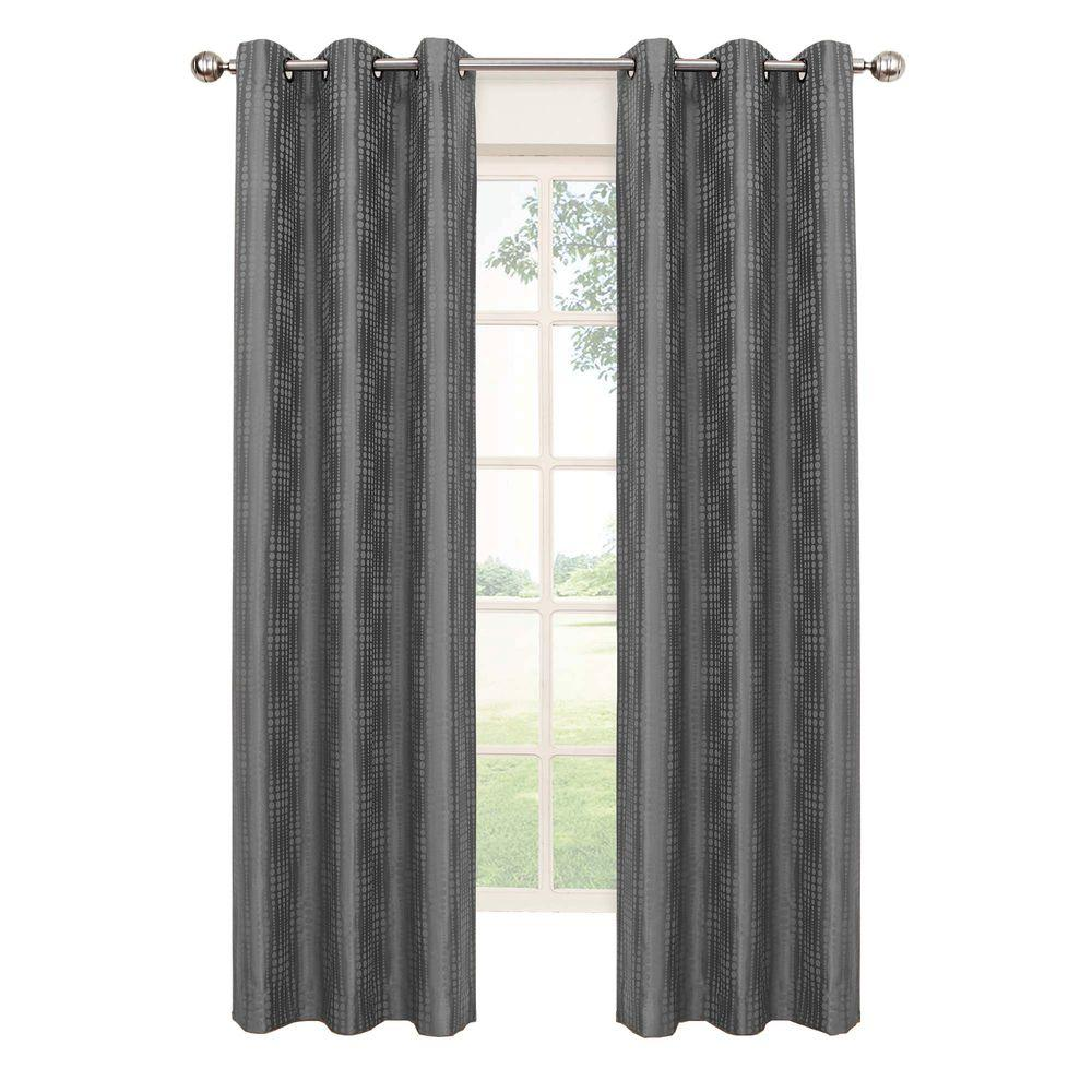 Eclipse Blackout Captree Blackout Smoke Polyester Grommet Curtain, 84 in. Length