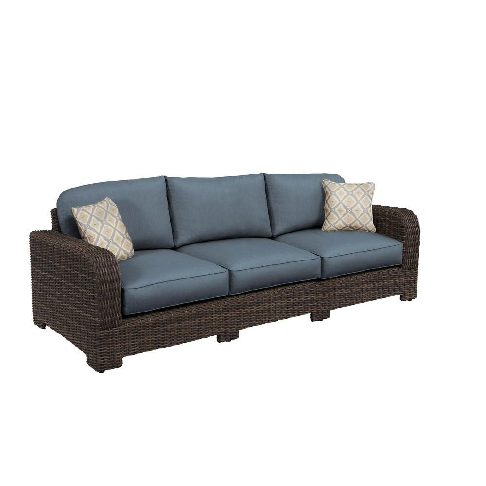 Northshore Patio Sofa with Denim Cushions and Bazaar Throw Pillows --