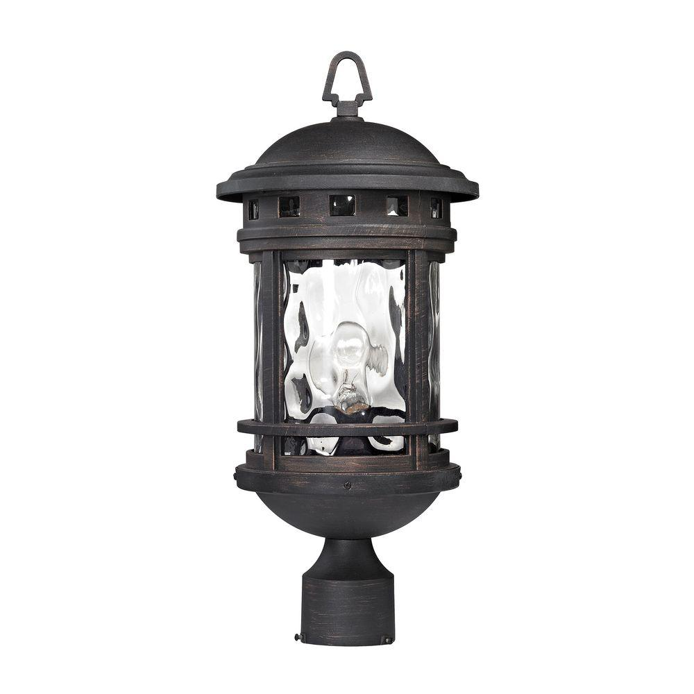 Outdoor Post Lights Nz: Costa Mesa 1-Light Weathered Charcoal Outdoor Post Lantern