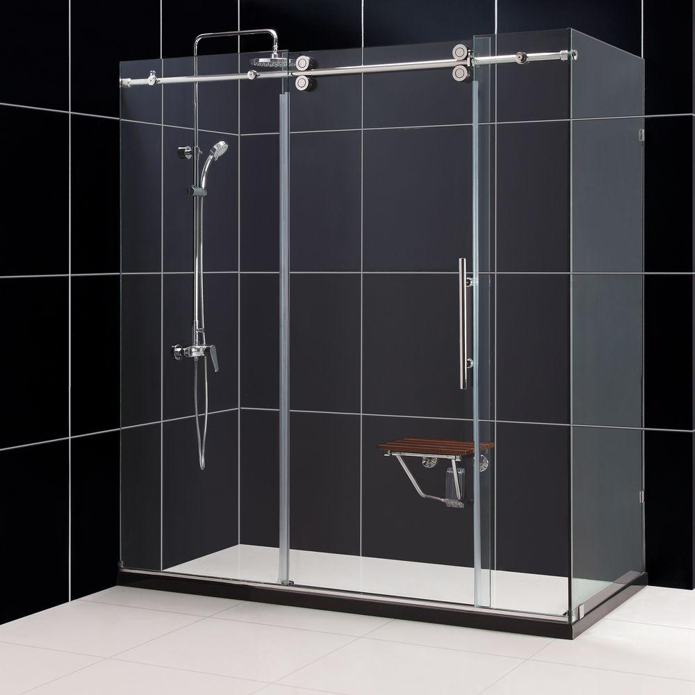 DreamLine Enigma 36 in. x 72-1/2 in. x 79 in. Fully Frameless Sliding Shower Enclosure in Brushed Stainless Steel, 1/2 in. Glass