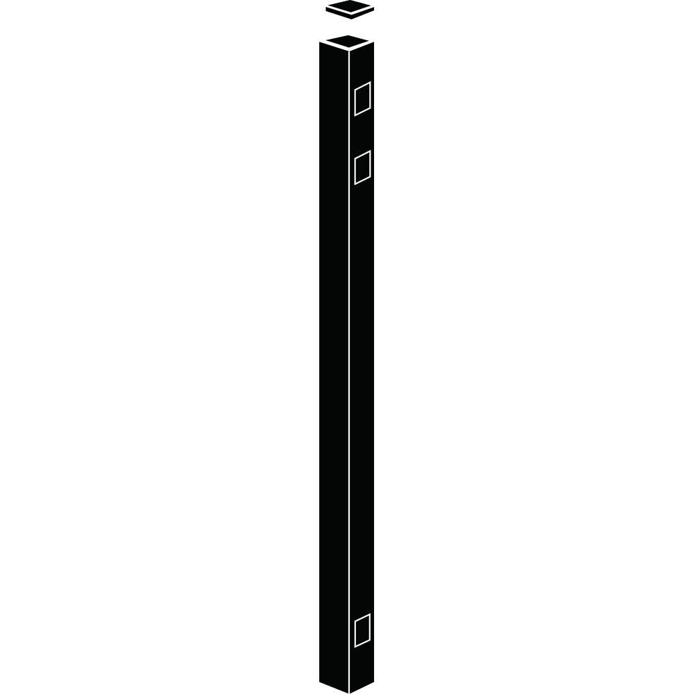 Allure Aluminum 54 in. Screwless Snap-In Provincial Style Black Fence End/Gate Post (1-Pack)-DISCONTINUED