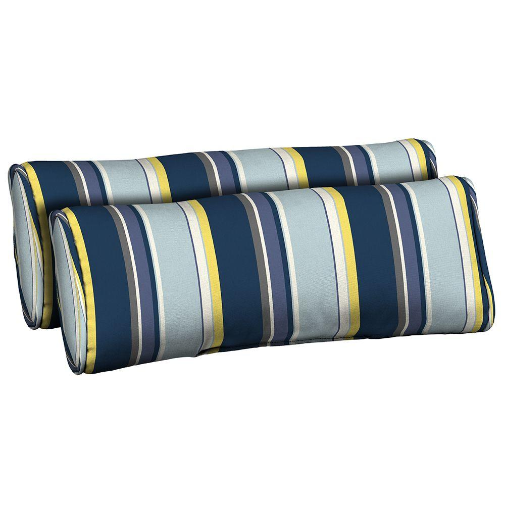 Hampton Bay Stella Stripe Outdoor Bolster Pillow (2-Pack)-DISCONTINUED