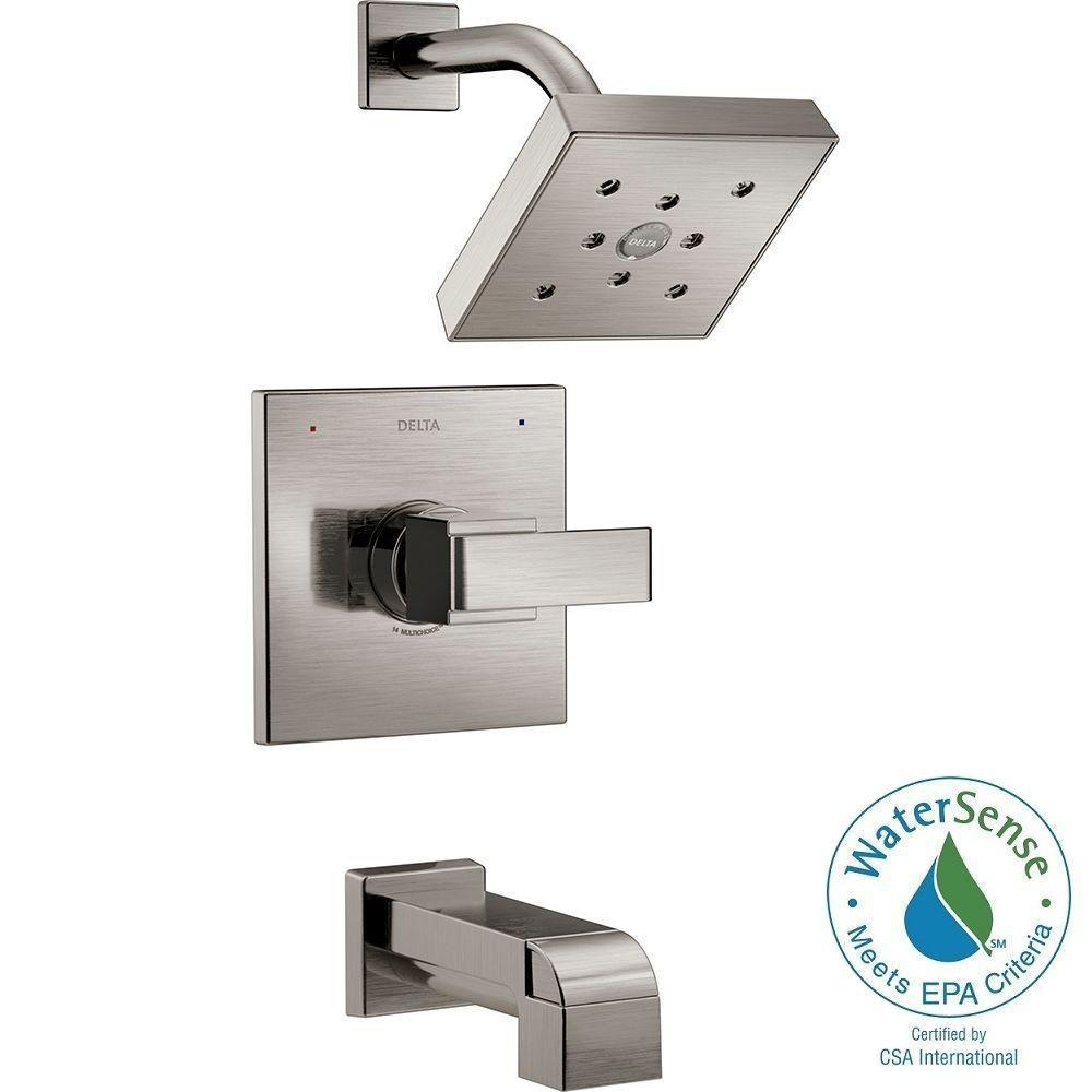 Ara 1-Handle Tub and Shower Faucet Trim Kit in Stainless Featuring