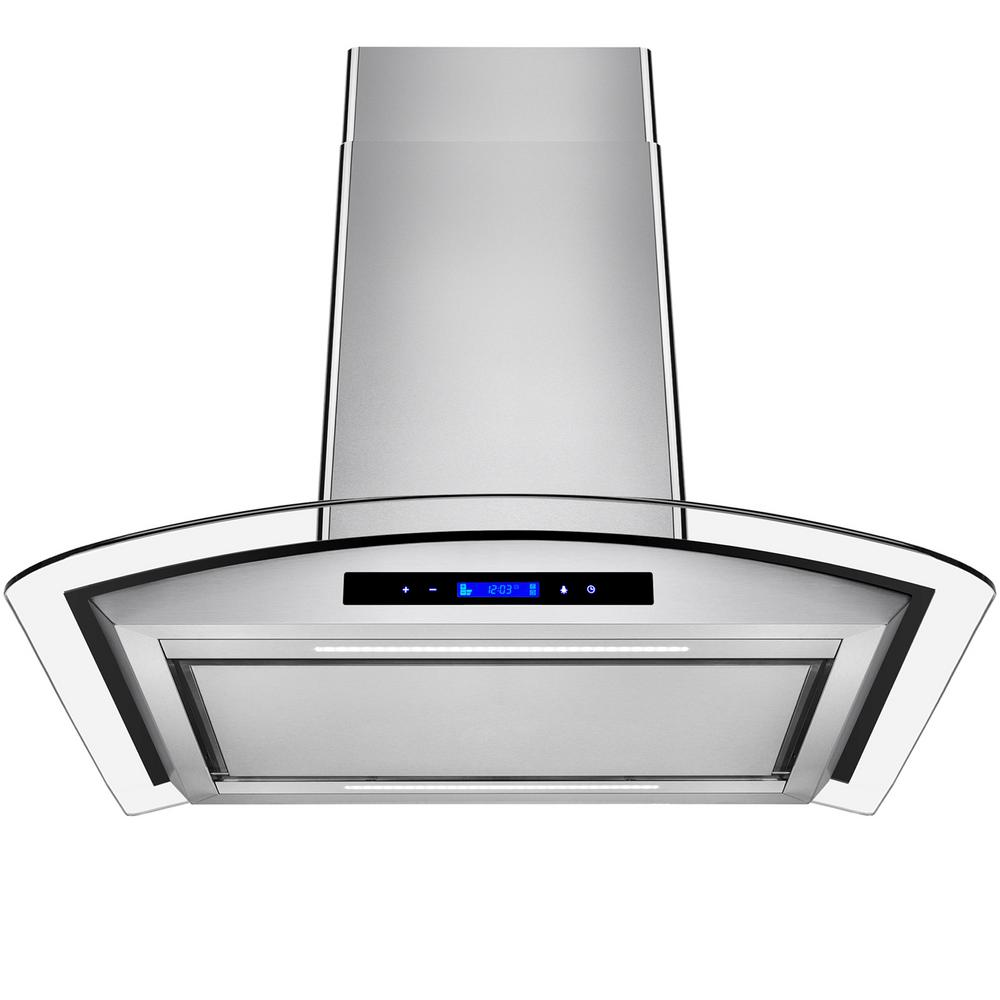 AKDY 30 in. Convertible Island Mount Range Hood in Stainless Steel