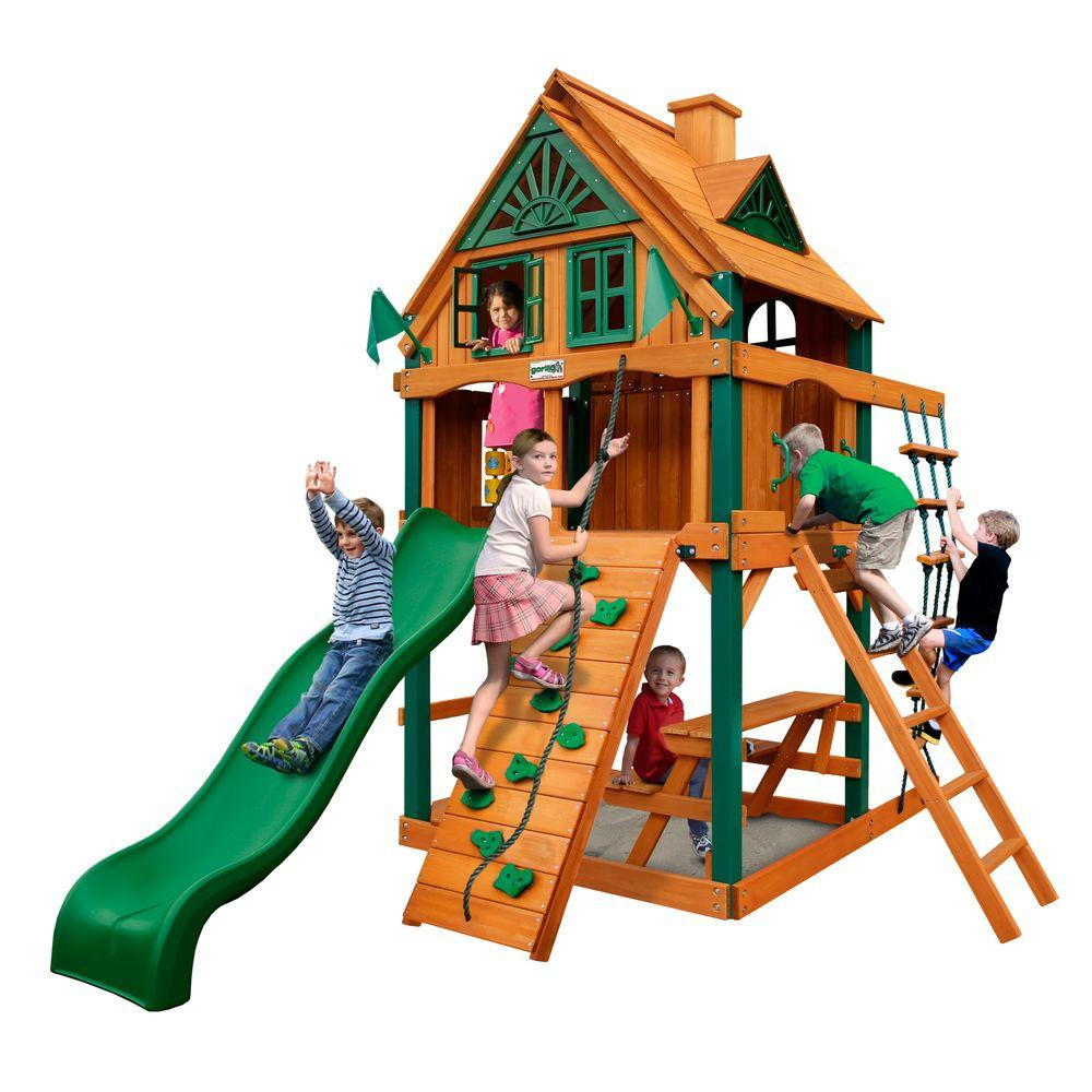 Gorilla Playsets Chateau Tower Treehouse with Fort Add-On and Timber Shield