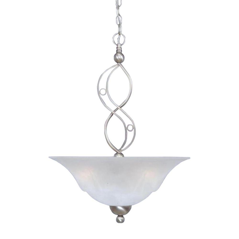 3-Light Brushed Nickel Pendant with White Marble Glass