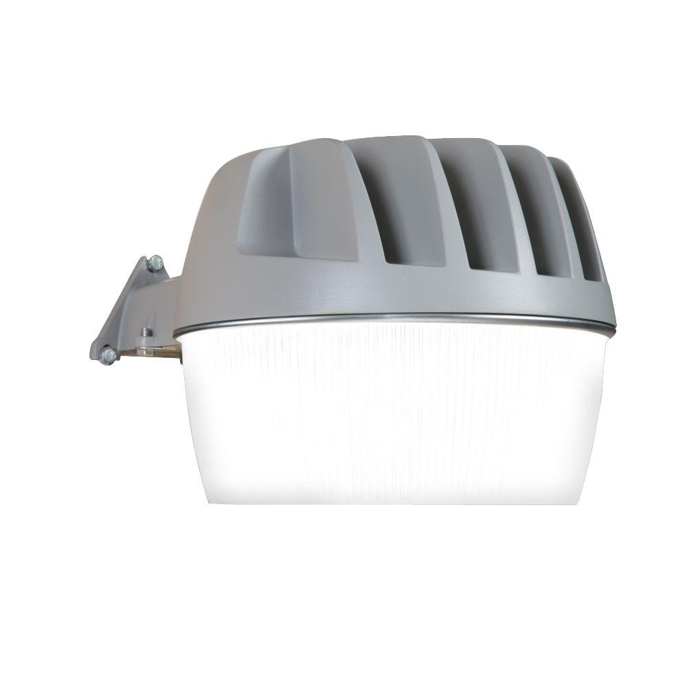 Gray LED Outdoor Area and Wall Security Light with Integrated Photo