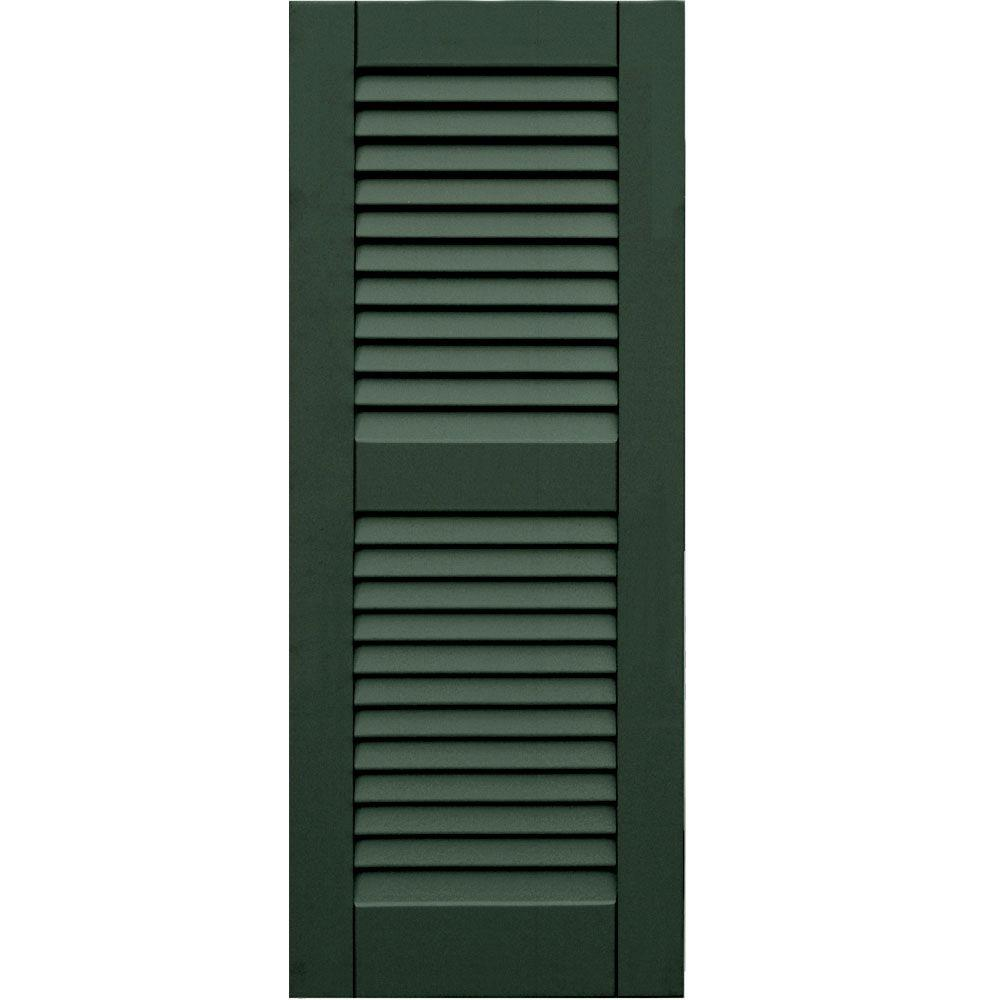 Winworks Wood Composite 15 in. x 38 in. Louvered Shutters Pair #656 Rookwood Dark Green