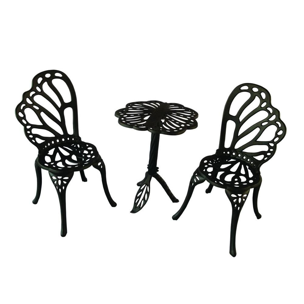 FlowerHouse Black Cast Aluminum 3-Piece Twin Butterfly Patio Bistro Set-FH3PSET