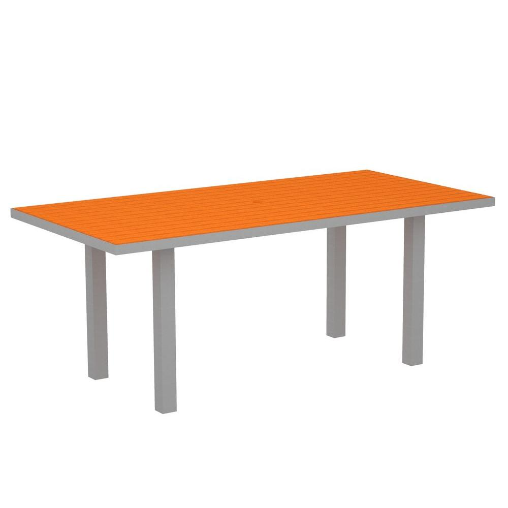 POLYWOOD Euro Textured Silver 36 in. x 72 in. Patio Dining Table with Tangerine Top