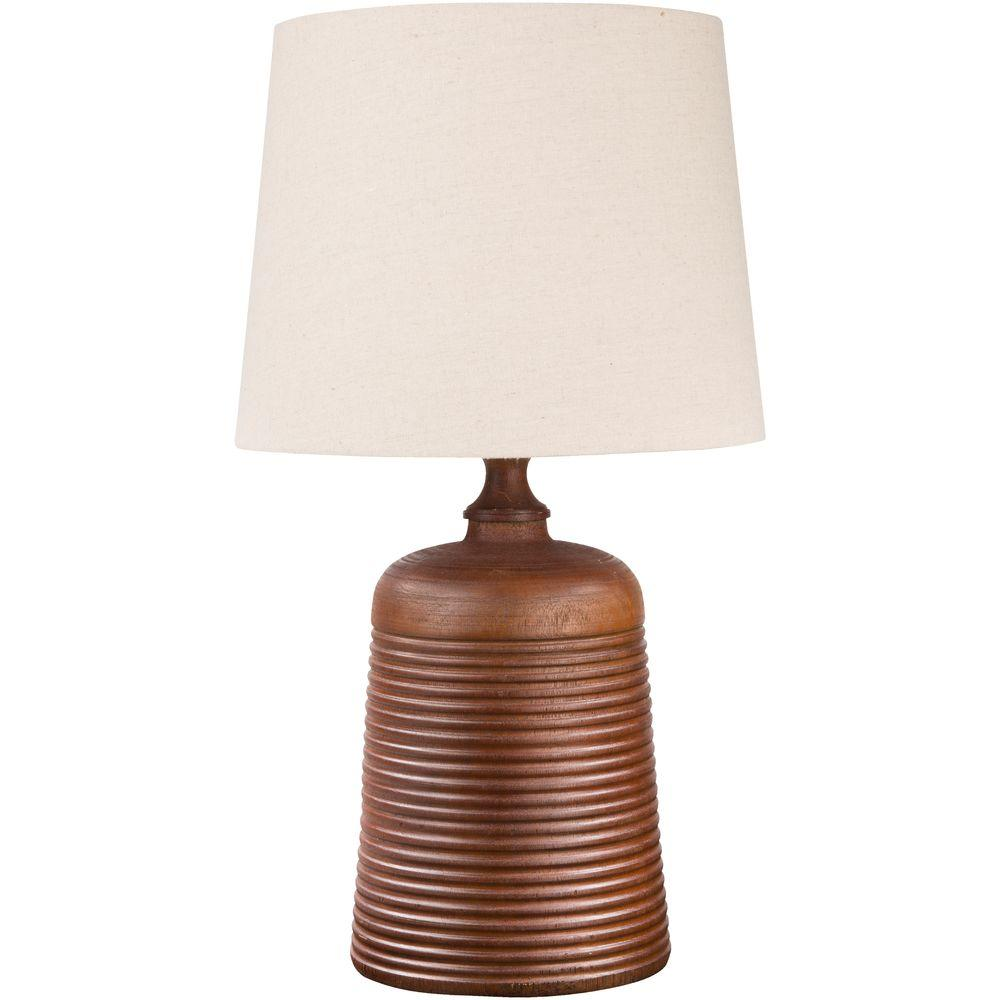 Barmin 23 in. Brown Wood Tone Indoor Table Lamp