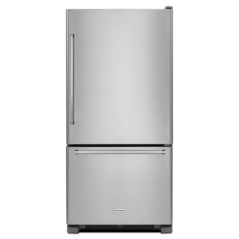 30 in. W 19 cu. ft. Bottom Freezer Refrigerator in Stainless