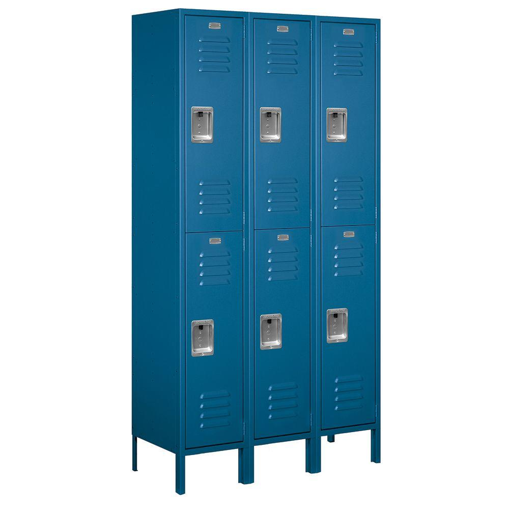 Salsbury Industries 52000 Series 45 in. W x 78 in. H x 15 in. D Double Tier Extra Wide Metal Locker Unassembled in Blue