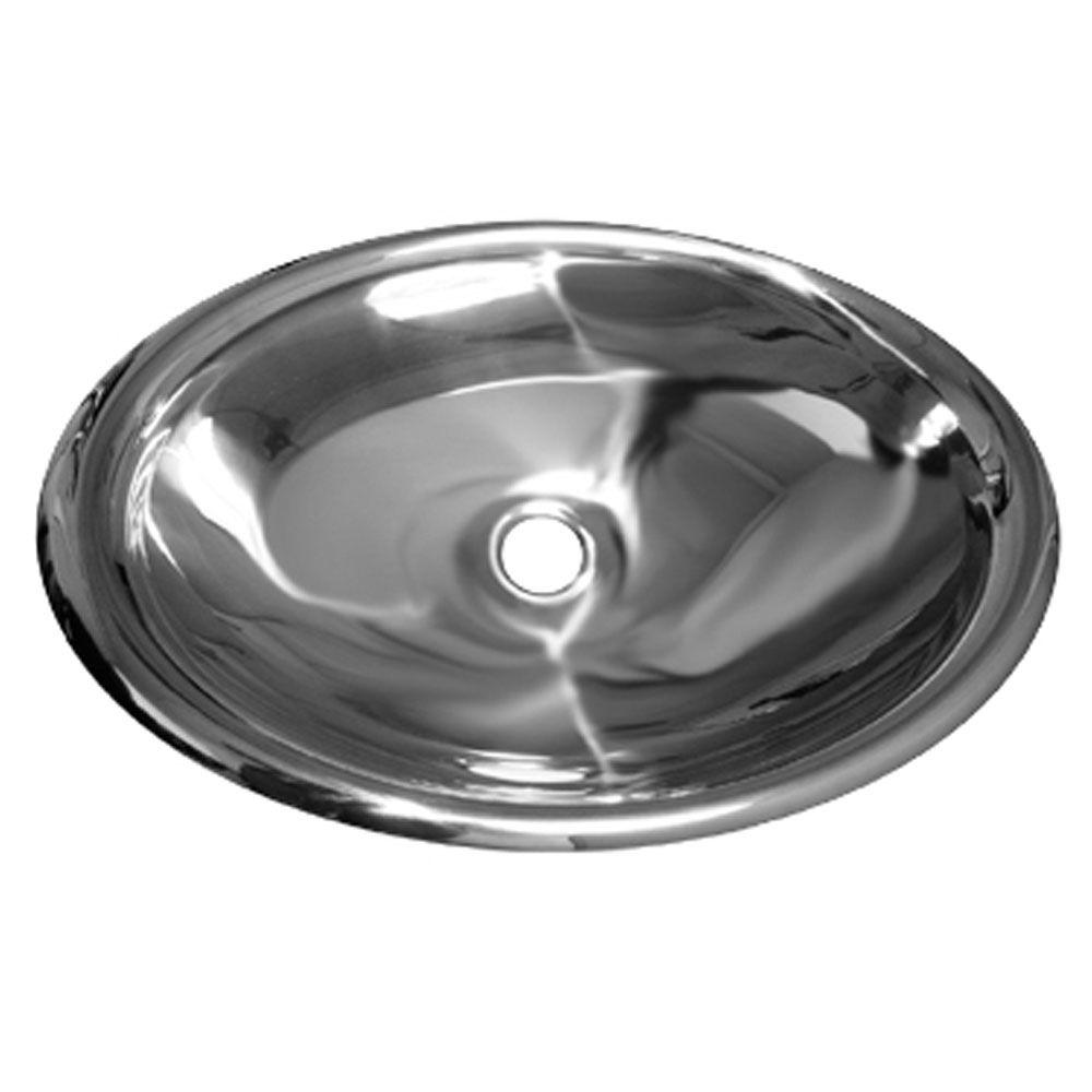 Whitehaus Collection Drop-in Bathroom Sink in Polished Stainless Steel