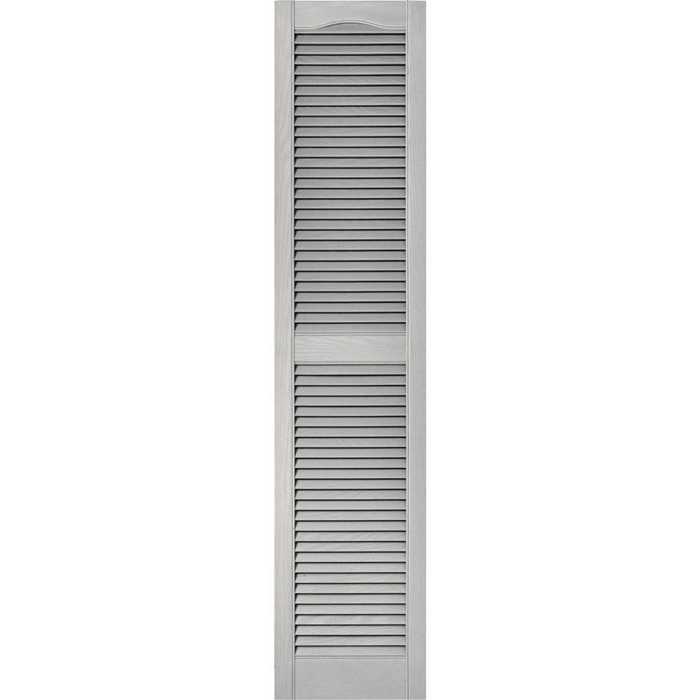 15 in. x 67 in. Louvered Vinyl Exterior Shutters Pair in