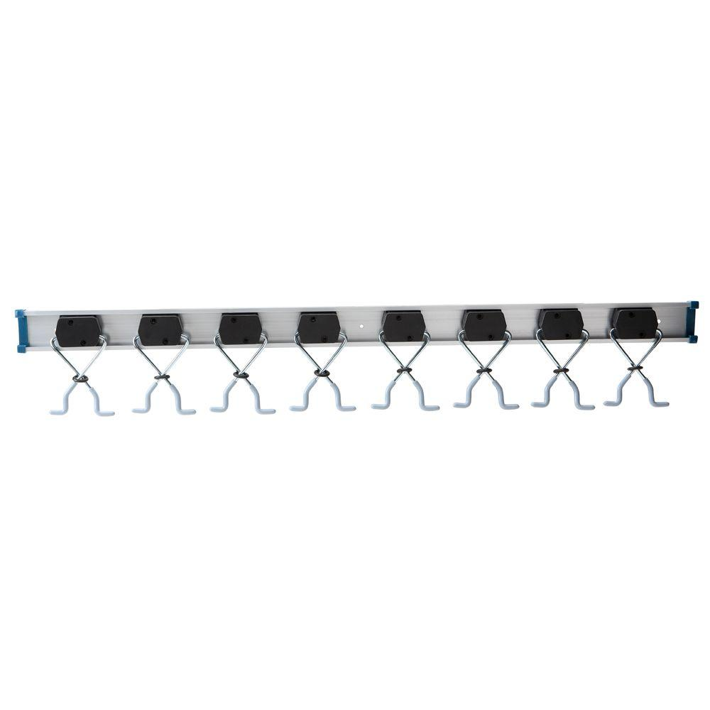 36 in. 80 lb. Aluminum 8-Clamp Wall Rack Organizer