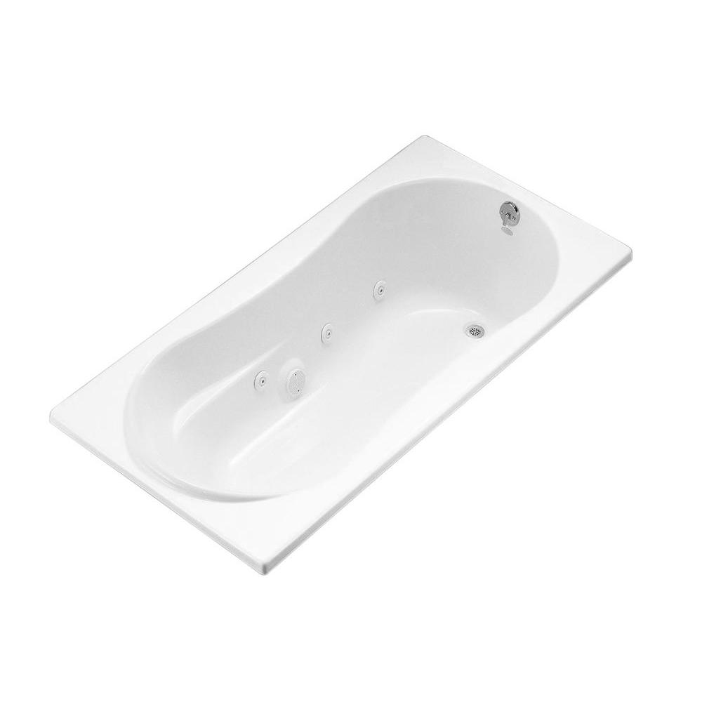 7236 6 ft. Whirlpool Tub with Right-Hand Drain in White
