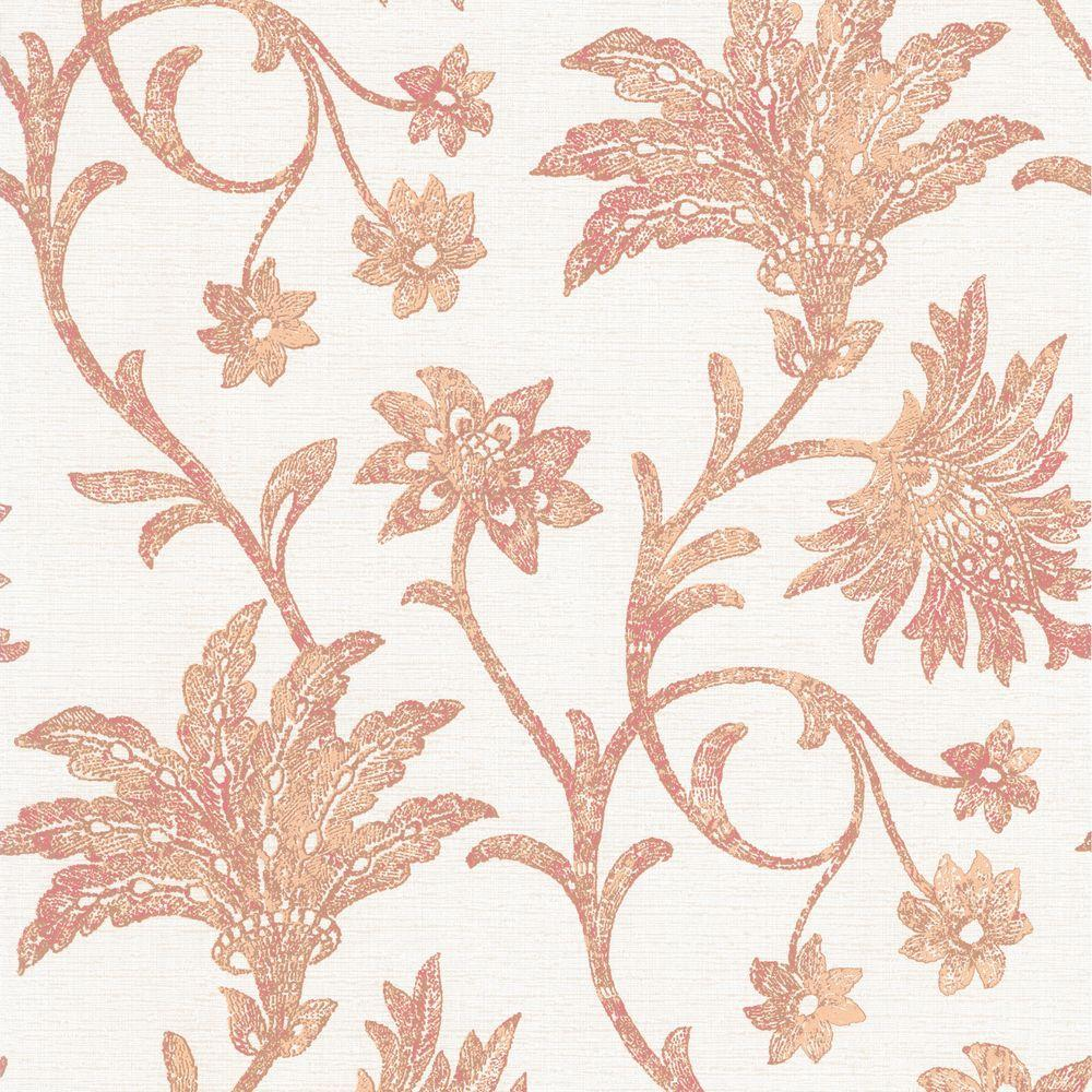 Jasmine Salmon Floral Trail Wallpaper